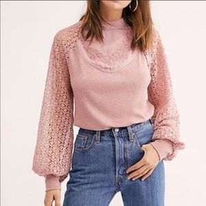 Free People Rose Sweetest Thing Thermal Blouse